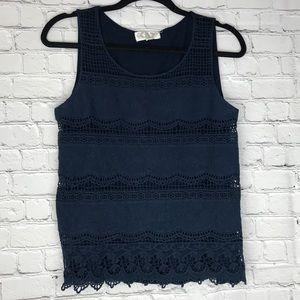 ♣️ Pink Rose Navy Crochet Lace Sleeveless Top L